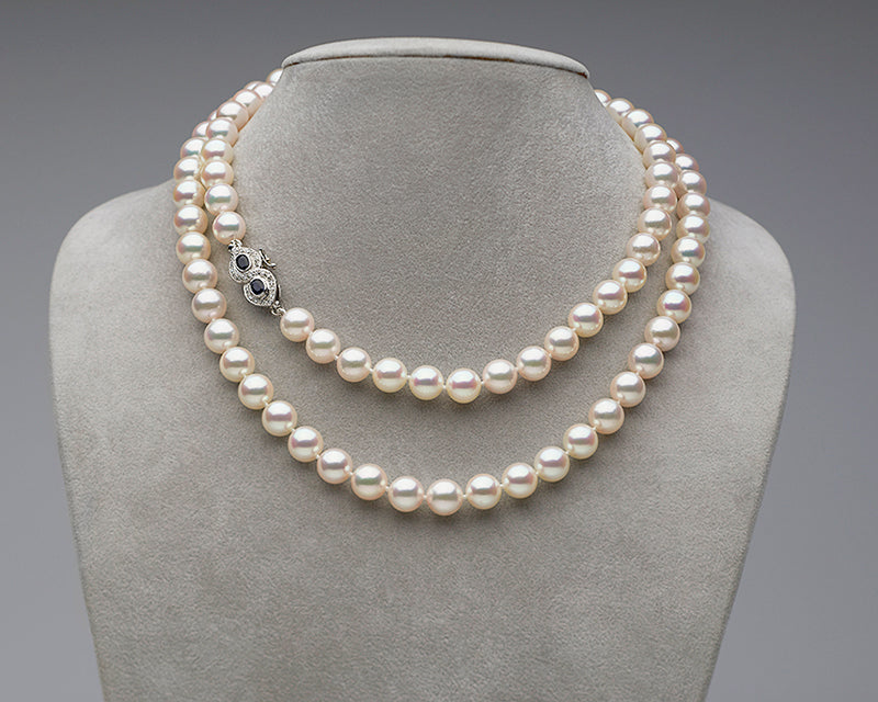 Custom Akoya Pearl Necklace Sapphire Clasp Close-Up