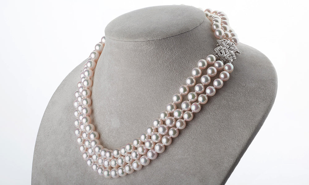Triple Strand Pearl Necklace with Diamonds