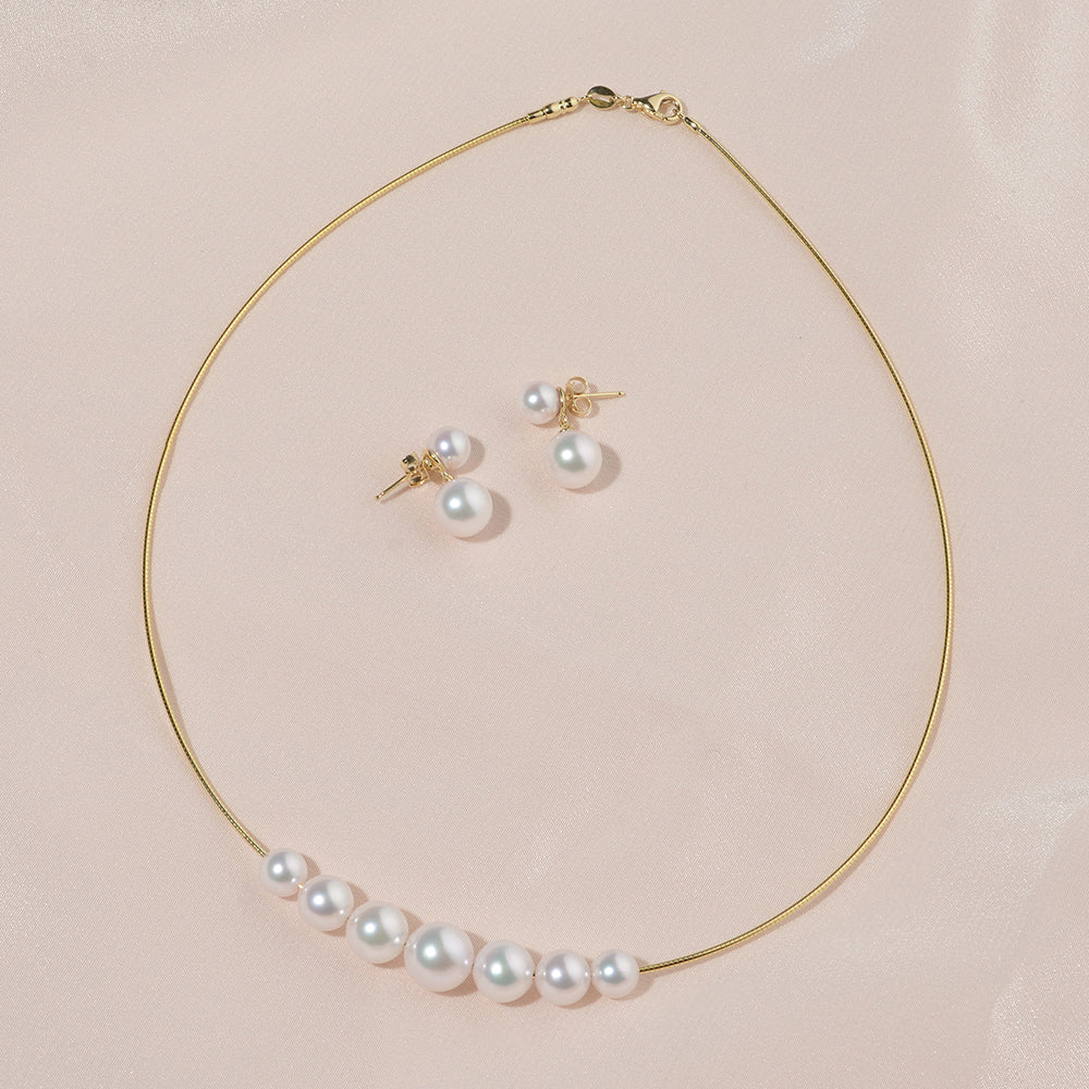 New Custom Design Akoya Pearl Necklace and Earrings Set by Pure Pearls
