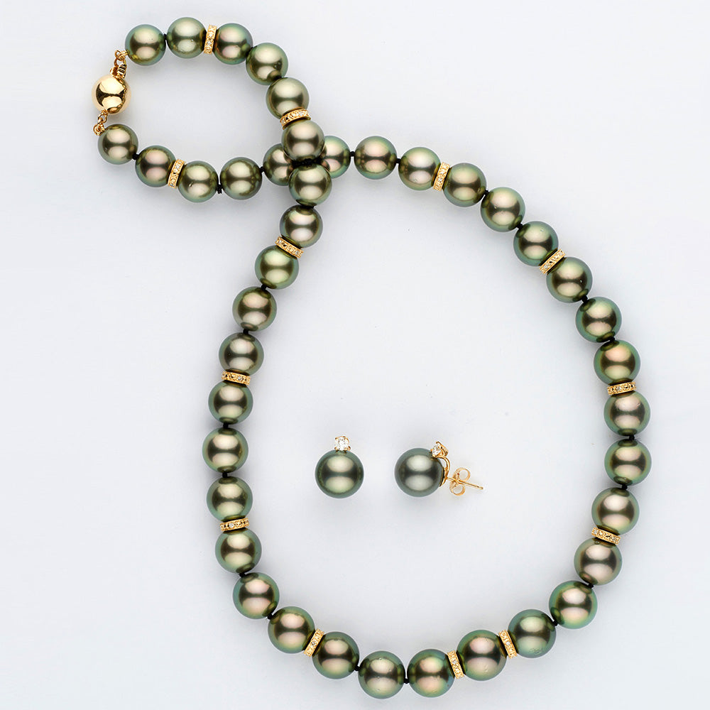 Custom Design Tahitian Pearl and Diamond Rondelle Necklace