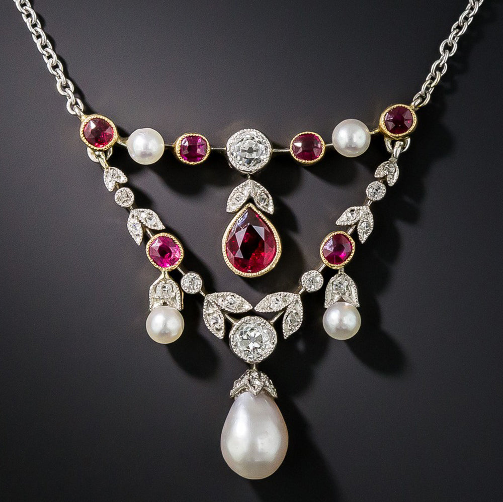 Antique Edwardian Natural Pearl, Ruby and Diamond Pendant Necklace, Jewelry via Lang Antiques