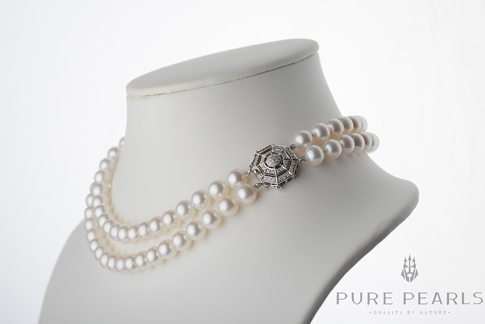 Pearl Product Spotlight: White Elite Collection Double-Strand Pearl and Diamond Necklace