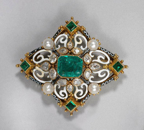 Pearl Emerald Diamond Brooch