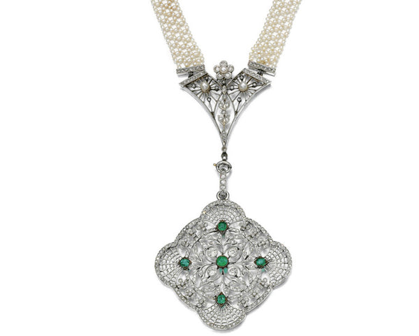 Necklace Pearl Diamond Emerald