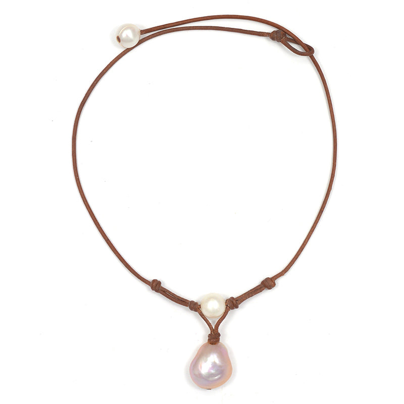 """Grove"" Baroque Freshwater Pearl on Knotted Leather Necklace by Wendy Mignot"