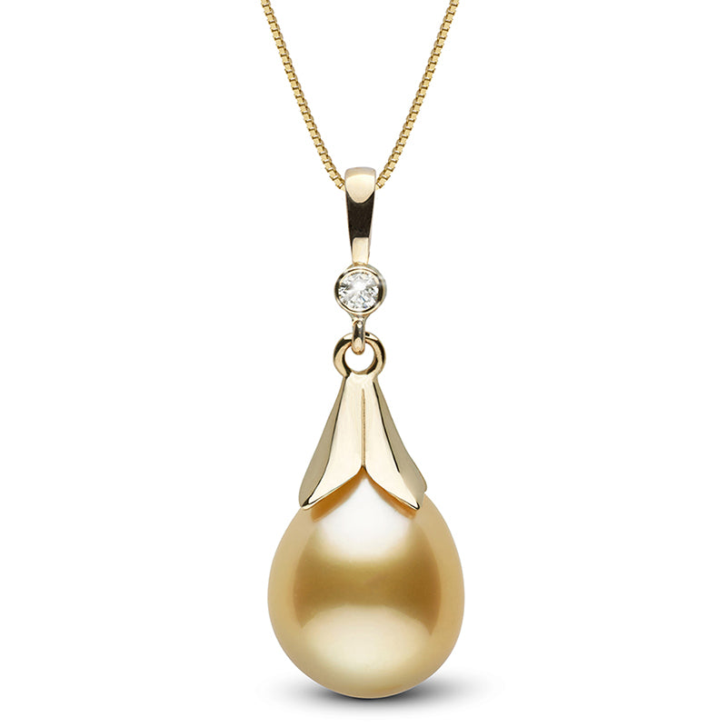 Golden South Sea Pearl and Diamond Lily Pendant