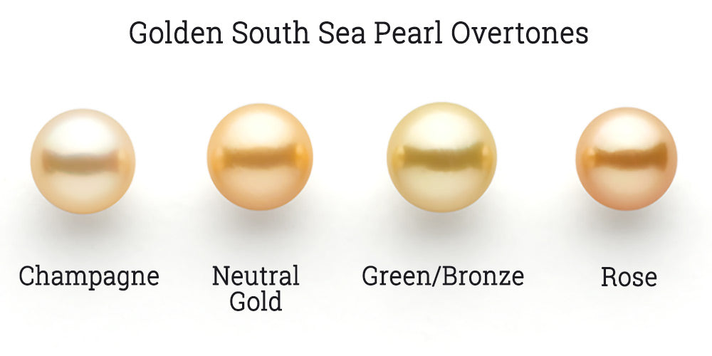 Golden South Sea Pearl Overtones are Champagne, Neutral Gold, Bronze and Rose