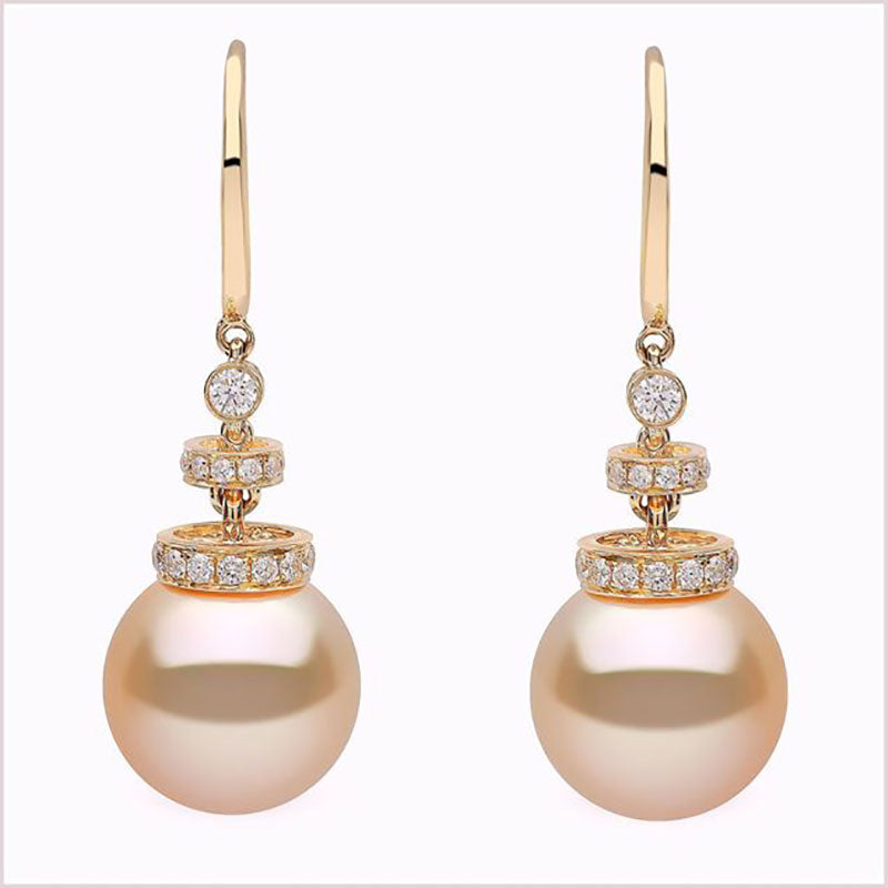Golden South Sea Pearl and Diamond Dangle Earrings by Yoko London