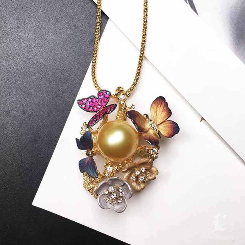 Golden South Sea Pearl Butterfly Pendant with Diamonds and Sapphires