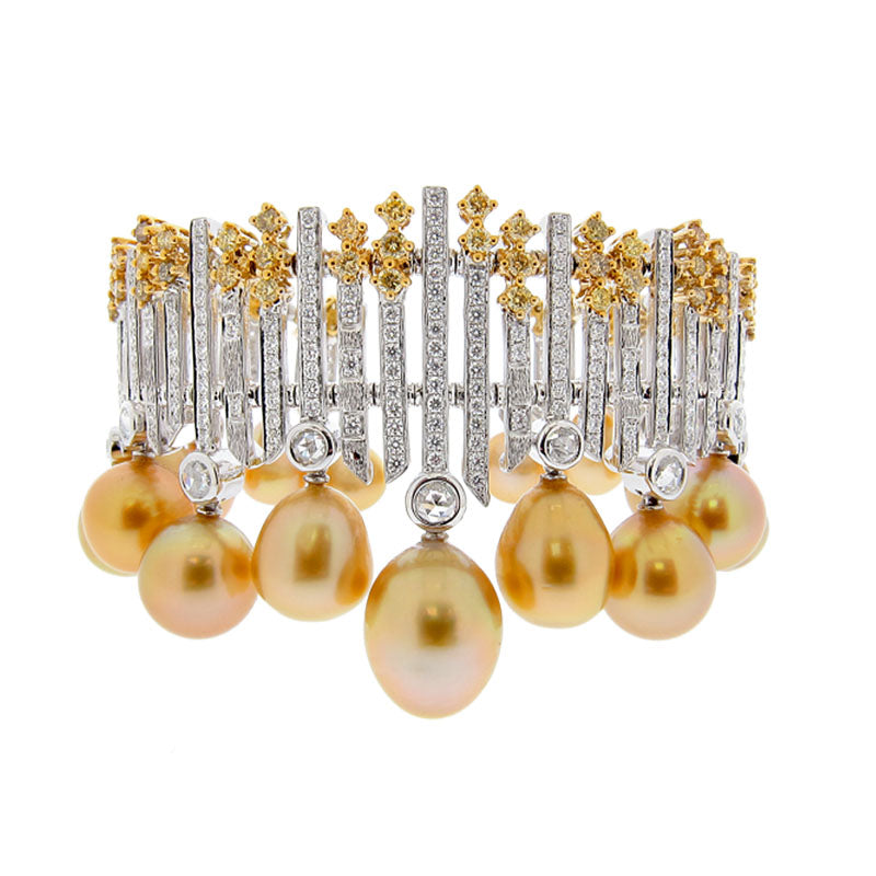 Golden South Sea Drop-Shape Pearl and Diamond Cuff Bracelet by Belford