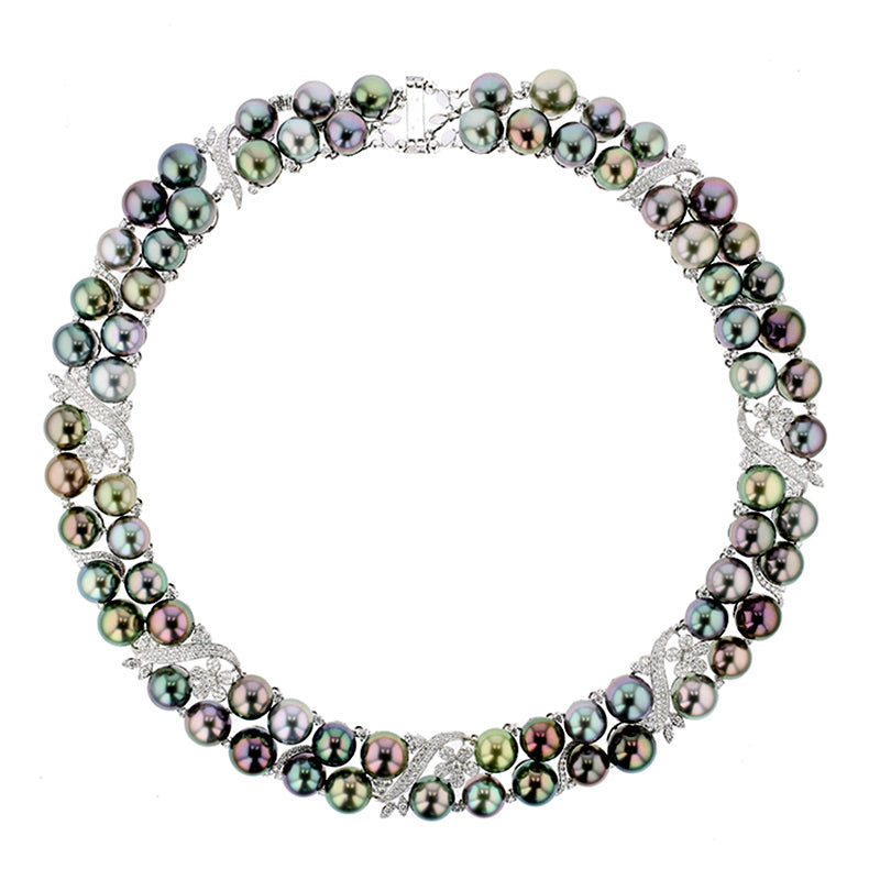 Pure Inspiration: Multi-Color Tahitian Pearl and Diamond Floral Necklace, Jewelry by Hinerava