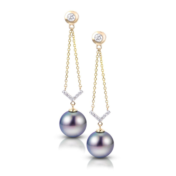 Tahitian Pearl and Diamond Dangle Earrings