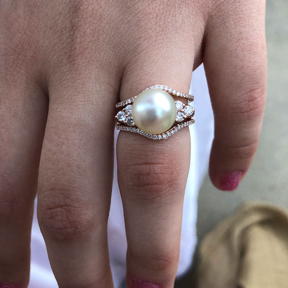 White South Sea Pearl and Diamond Ring Pure Pearls Customer Selfie