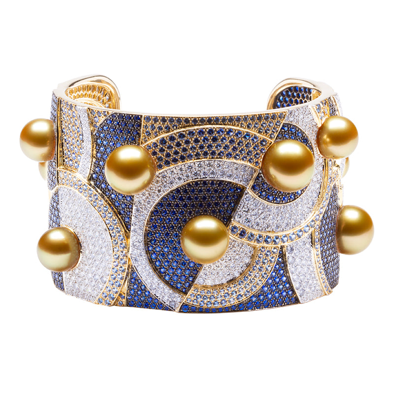 Pure Inspiration: Golden South Sea Pearl, Diamond and Sapphire Cuff Bracelet, 18K Yellow Gold by Jewelmer