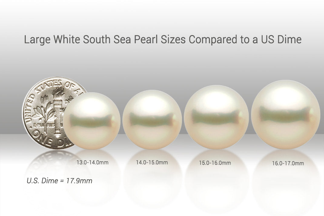 Large White South Sea Pearl Sizes vs a US Dime