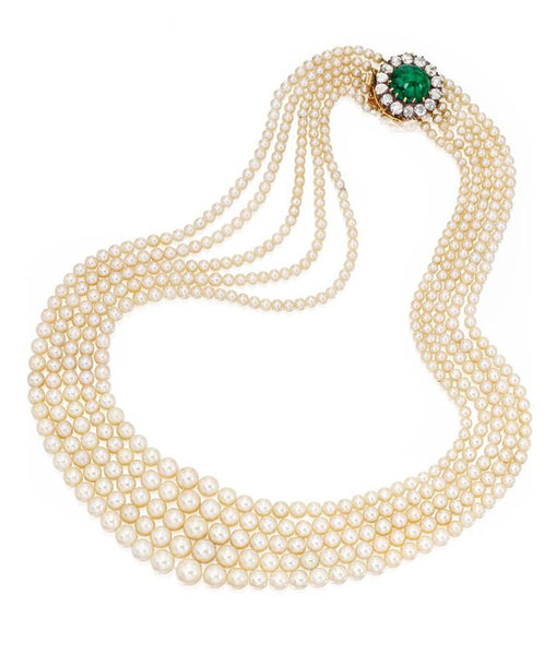 Five Strand Pearl Emerald