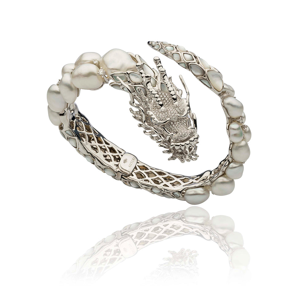 White South Sea Keshi Pearl, Mother of Pearl and Dragon Cuff Bracelet  Pure says: It's a Luck Dragon!  Jewelry by Autore