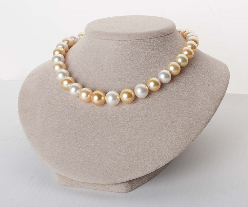 White And Golden South Sea Multi-Color Semi-Round Pearl Necklace, 18-Inch, 12.1-15.5mm, AA+/AAA Quality