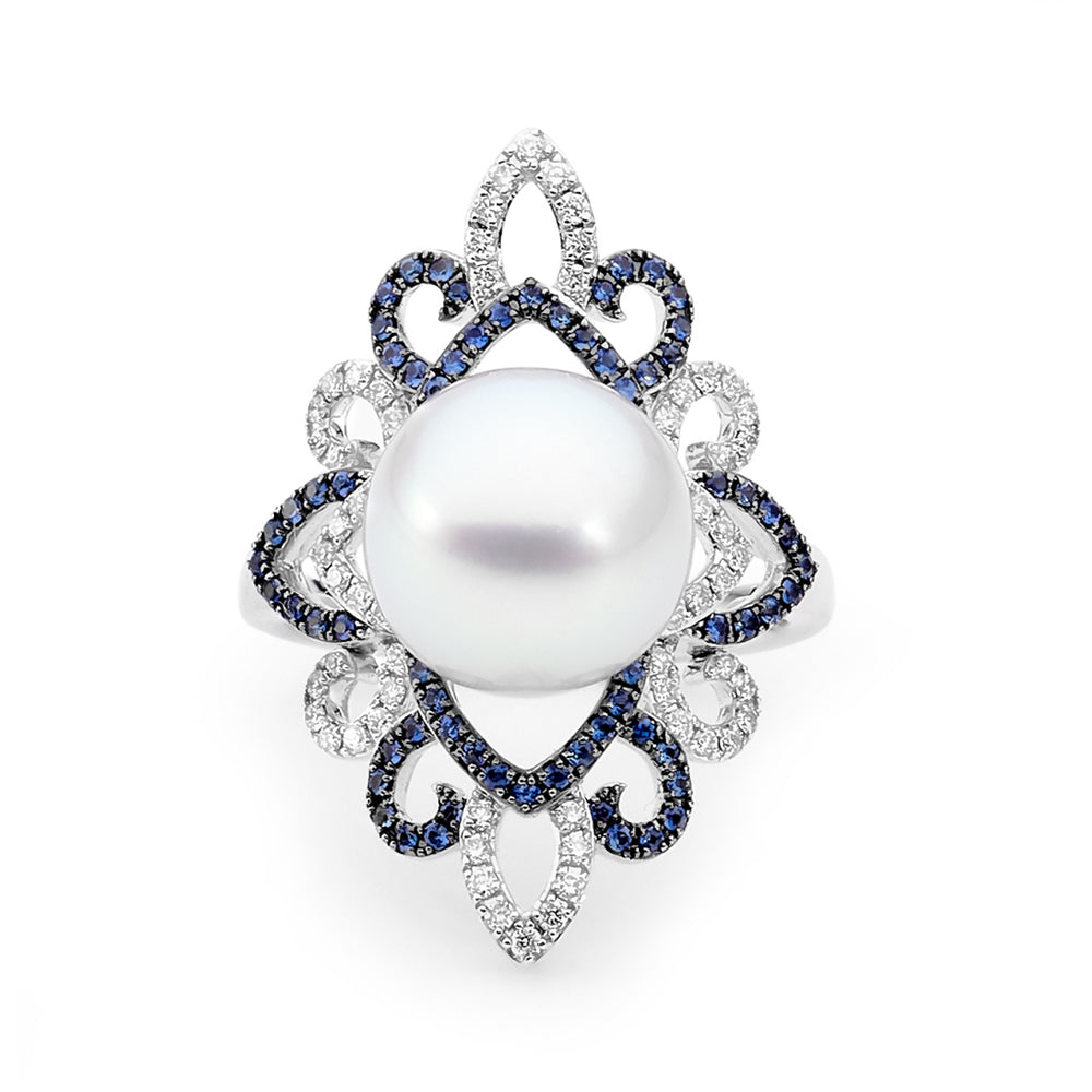 White South Sea Pearl, Sapphire and Diamond Ring Autore