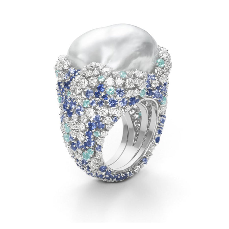 """Four Seasons"" White South Sea Baroque Pearl, Diamond and Sapphire Ring by Mikimoto"