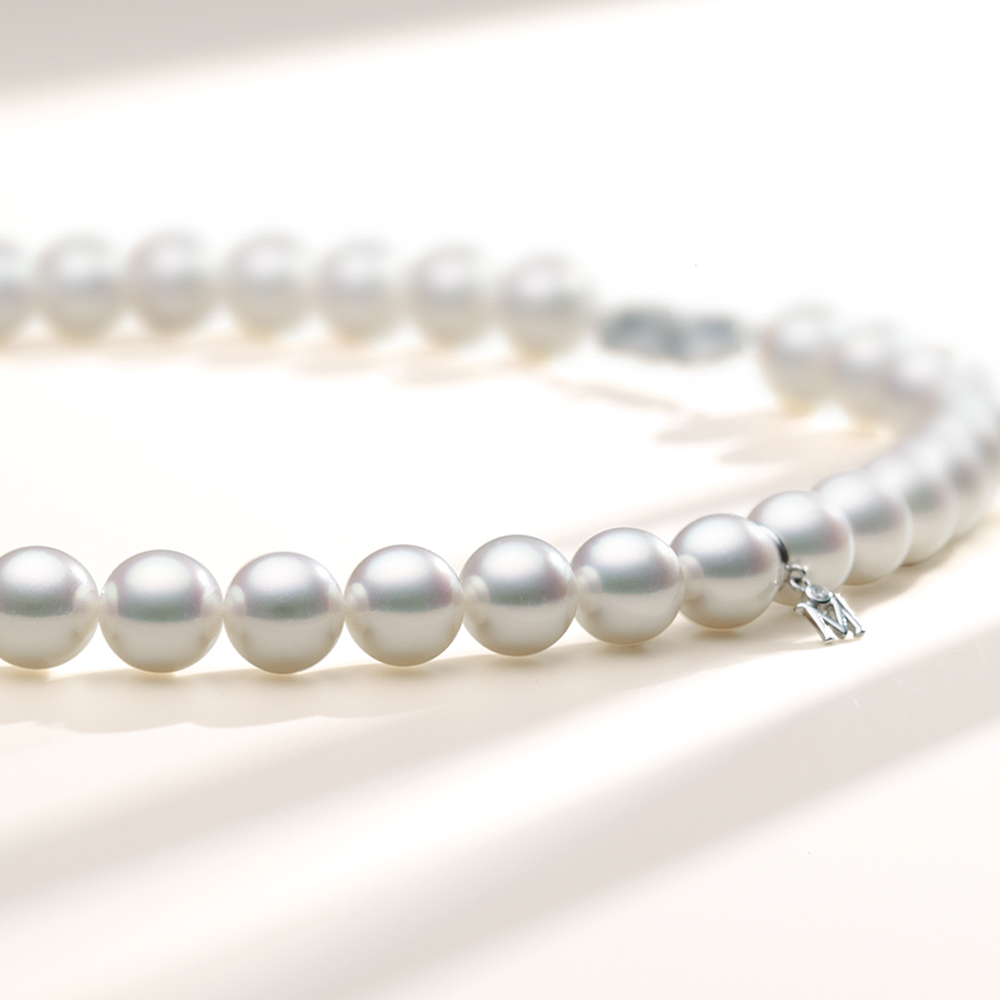 Close Up of Mikimoto Pearl Necklace