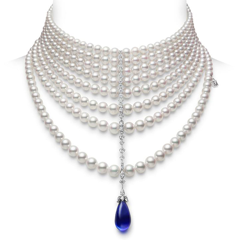 Graduated Akoya Pearl, Diamond and Sapphire Briolette Necklace, 18K White Gold by Mikimoto High Jewelry