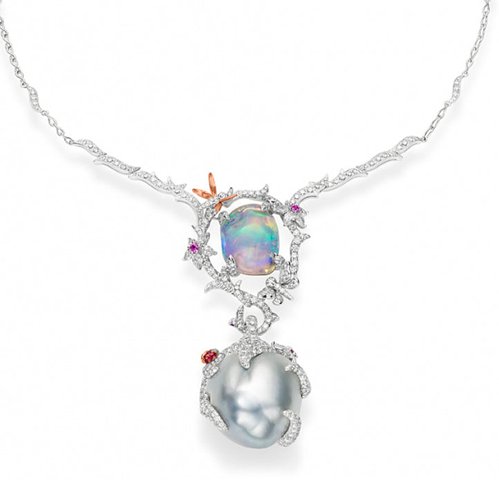 """Enchanted"" Mikimoto South Sea Pearl, Opal and Diamond Necklace"