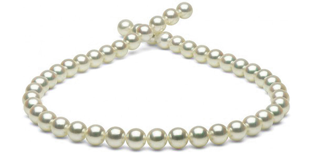 Natural Color Untreated Hanadama Akoya Pearl Necklace, 9.0-9.5mm