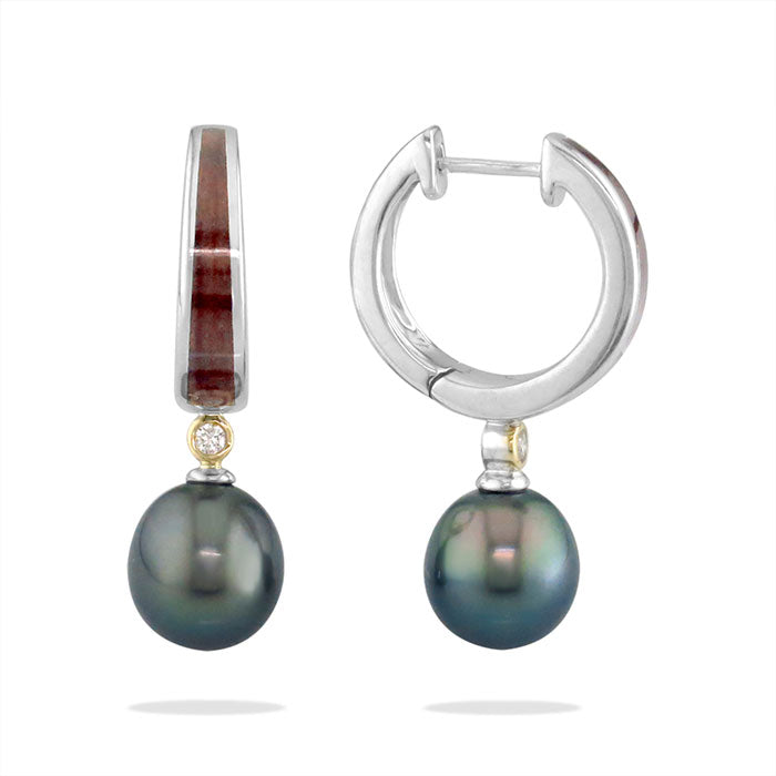 Tahitian Pearl and Koa Wood Hoop Earrings Kabana Jewelry