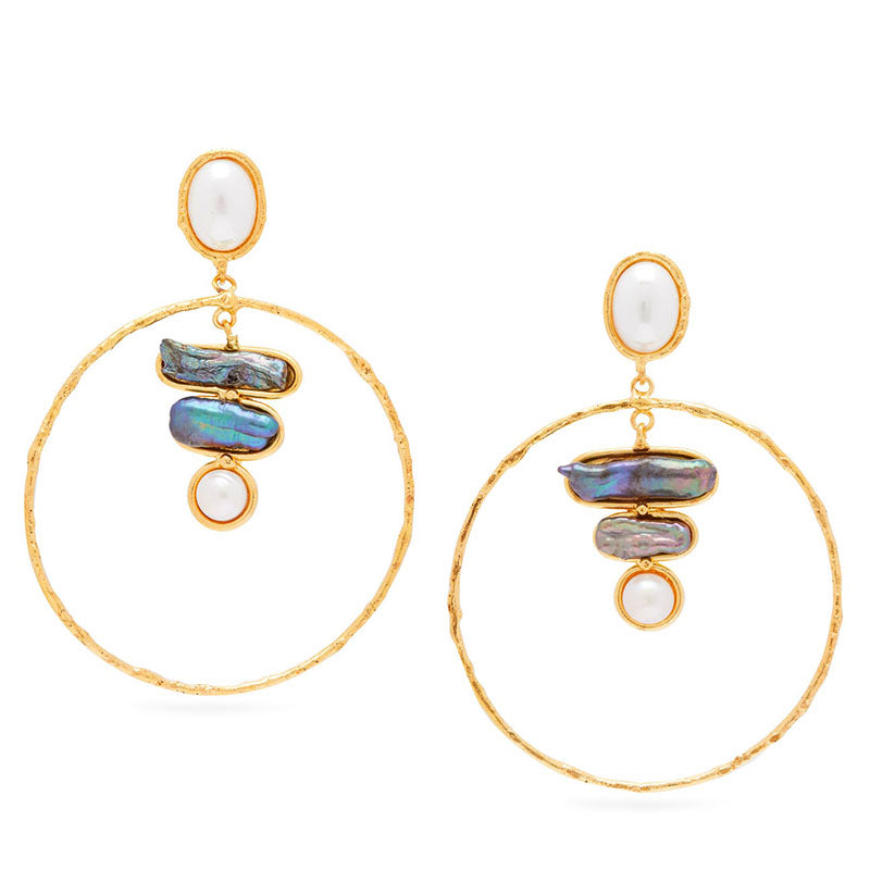 Mabe Pearl and Abalone Hoop Earrings