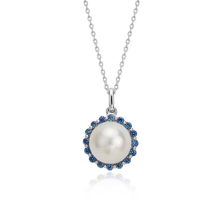 Pearl and Sapphire Halo Pendant