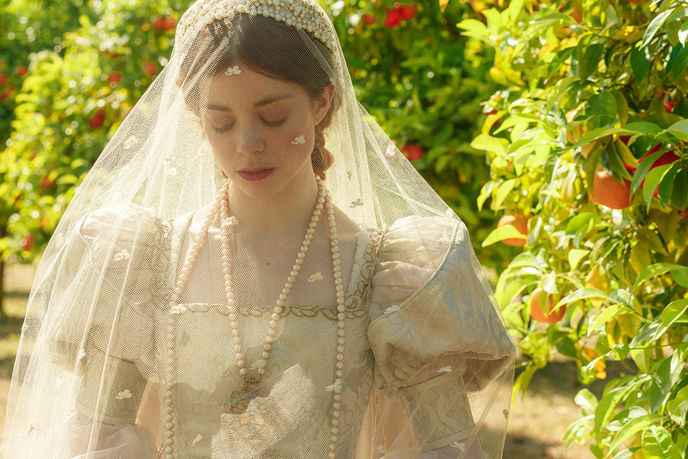 Queen Catherine Wedding Day Pearls and Veil