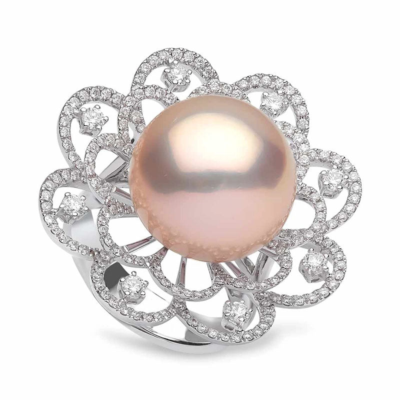 """""""Radiant Orchid"""" Blush Pink Edison Freshwater Pearl and Diamond Ring, 14.0-15.0mm by Yoko London"""