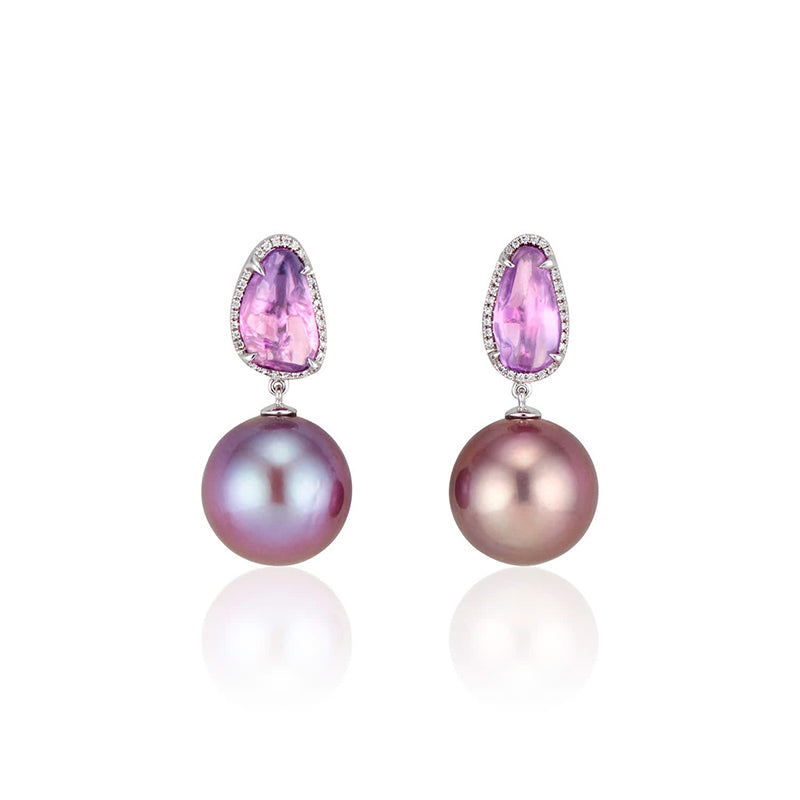 Ri Noor Lavender Freshwater Pearl and Sapphire Dangle Earrings