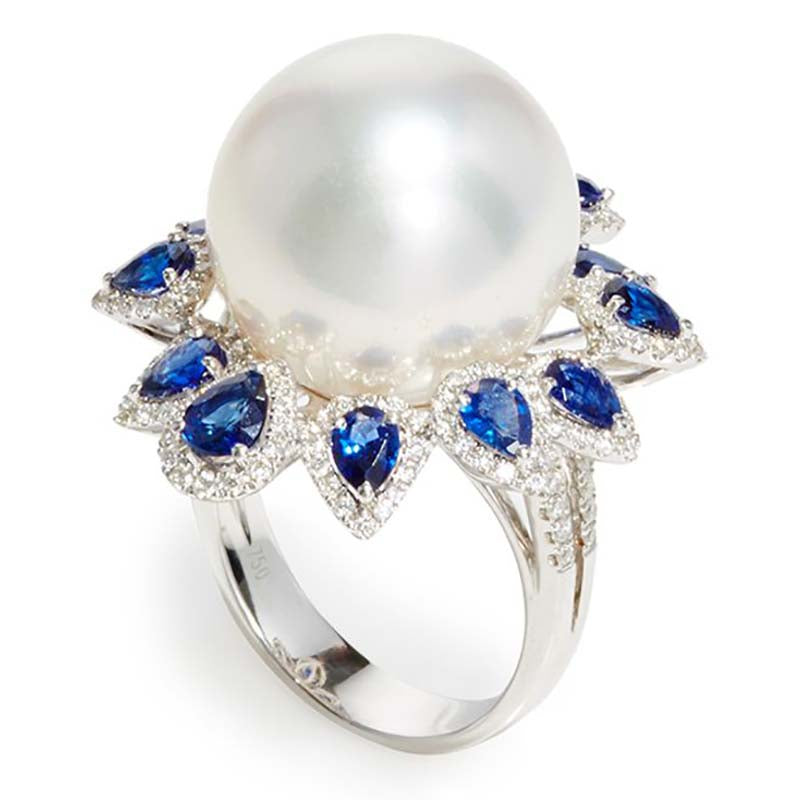 Sapphire Diamond and Pearl Ring Yoko London