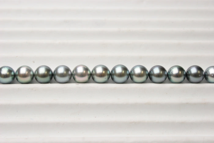 Section of Blue Tahitian Pearl Necklace Layout on Sorting Tray