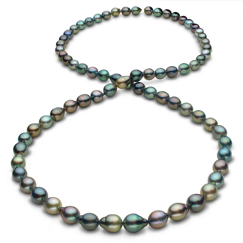 Pearl Product Spotlight: Intense Multi-Color Cherry, Peacock, Green, Blue-Green, Copper, Gold And Pistachio Smooth Drop Tahitian Pearl Necklace, 35-Inch, 8.5-11.1mm, AAA Quality