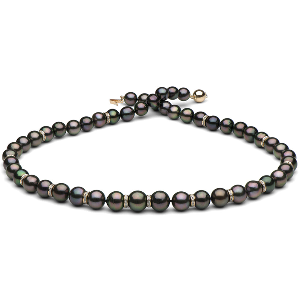 Tahitian Pearl and Diamond Rondelle Necklace