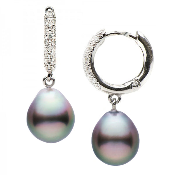 Tahitian Drop-Shape Pearl and Diamond Pave Hoop Earrings