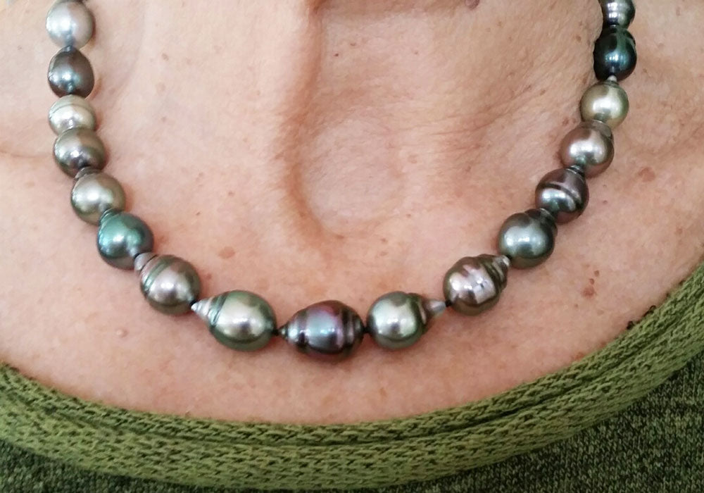 Colorful Baroque Tahitian Pearl Necklace on a Neck
