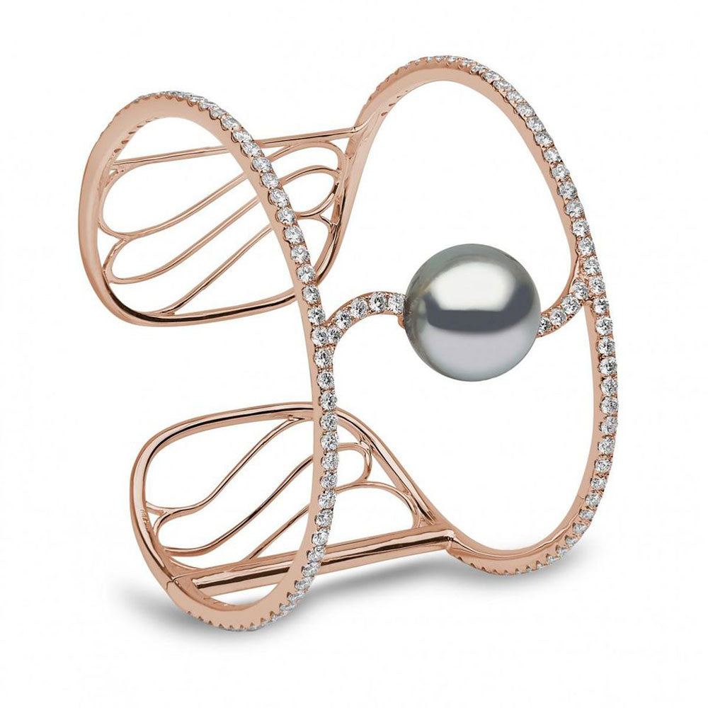 Tahitian Pearl and Diamond Cuff Bracelet by Yoko London