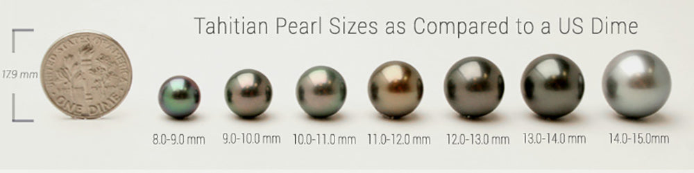 Tahitian Pearl Sizes vs US Dime