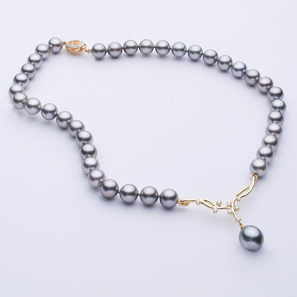 Custom Design Tahitian Pearl and Diamond Necklace