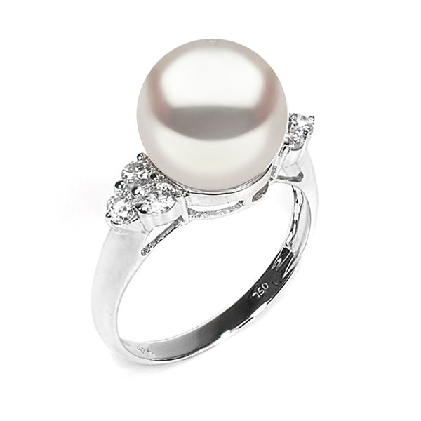 Pearl Anniversary Gifts: White South Sea Pearl and Diamond Anniversary Ring