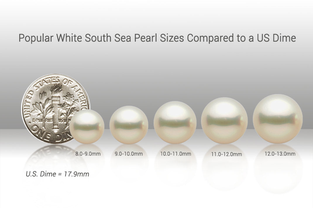 Popular White South Sea Pearls Compared to a US Dime