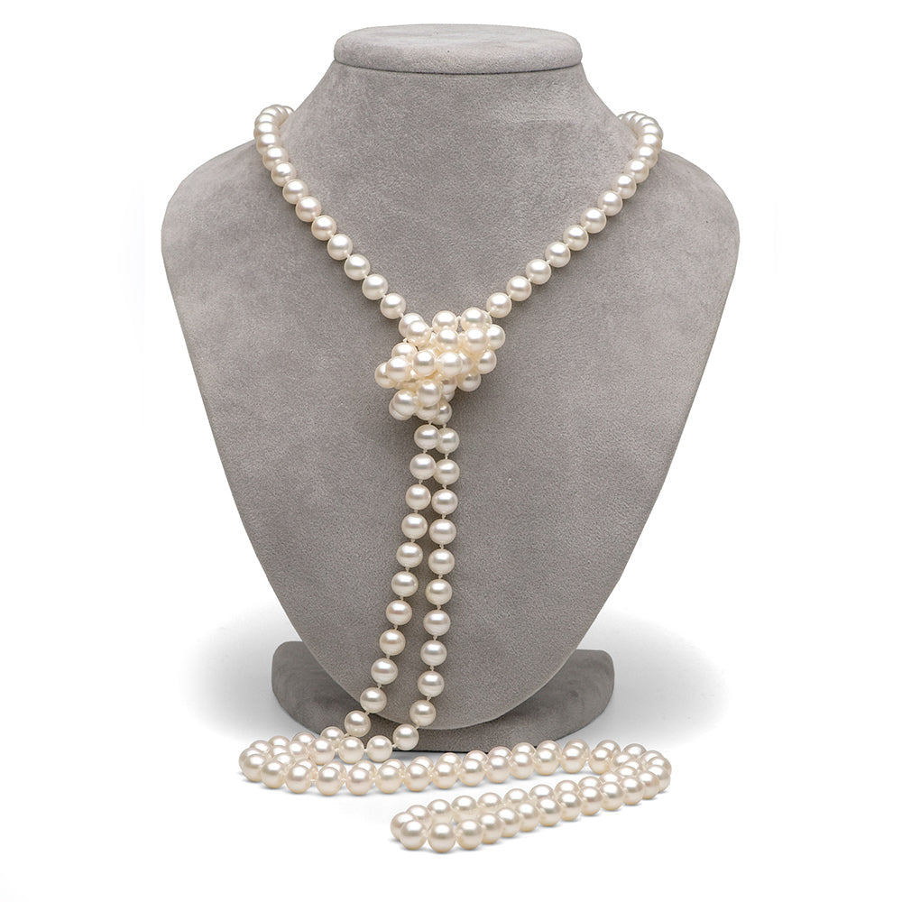 White Freshwater Pearl Rope Necklace