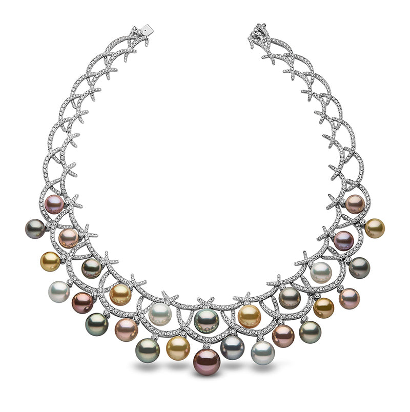 Yoko London Multi-Color Pearl and Diamond Necklace