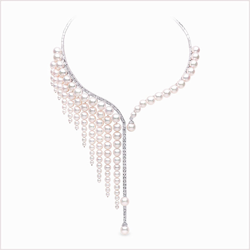 "Yoko London ""Waterfall"" Akoya Pearl and Diamond Necklace"