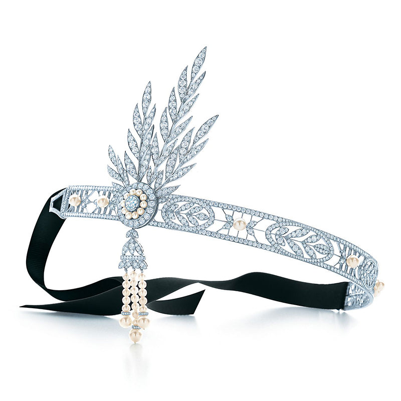 """Pure Inspiration: """"The Savoy Headpiece"""" featuring Freshwater Pearls, 25cts of Diamonds and Platinum by Tiffany"""
