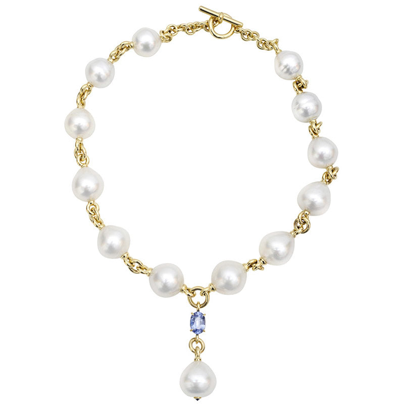 Verdura White South Sea Baroque Pearl and Sapphire Necklace 18K